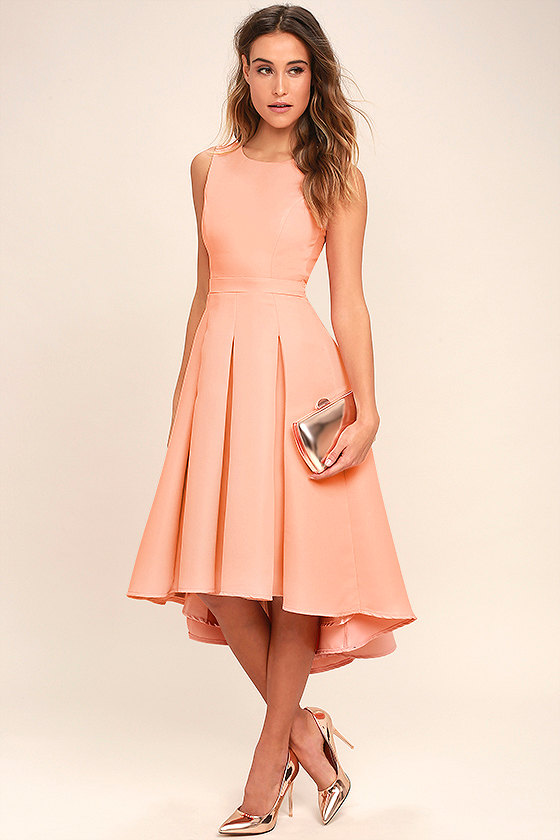Lovely Blush Pink Dress High Low Dress Formal Dress