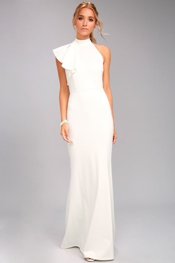 Chic White Maxi Dress - One-Shoulder Maxi Dress