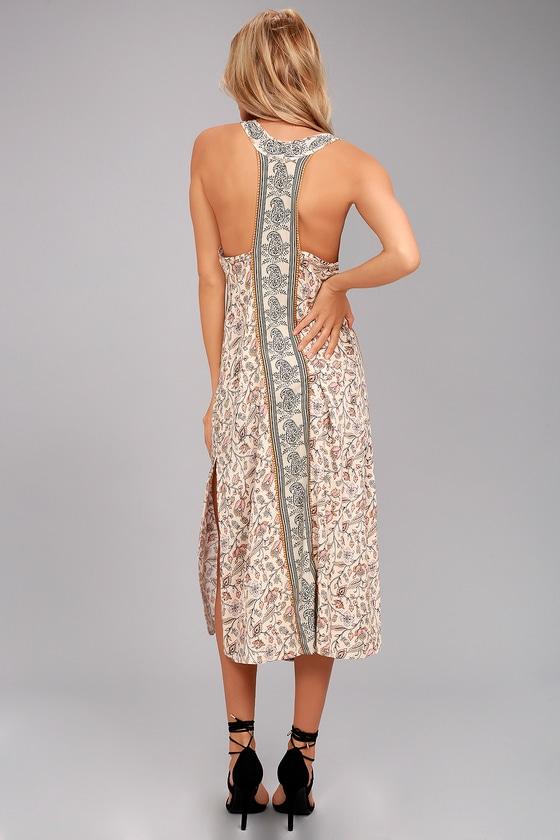O'Neill Phoenix Beige Print Midi Dress