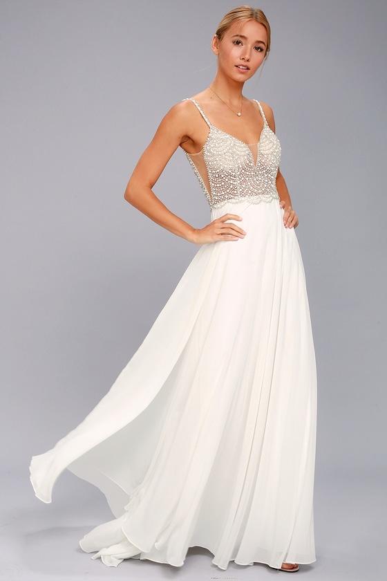 Stunning Maxi Dress - Beaded Maxi Dress - Mesh Maxi Dress