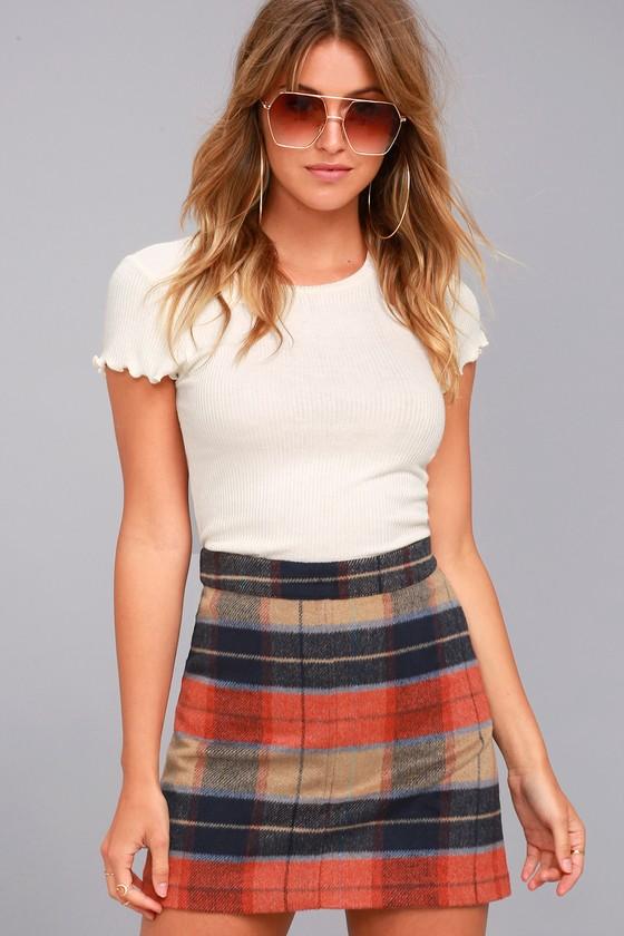 cute beige plaid skirt plaid mini skirt a line skirt