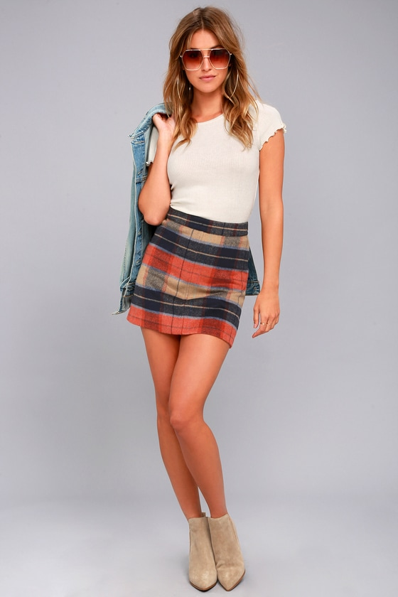 Cute Beige Plaid Skirt - Plaid Mini Skirt