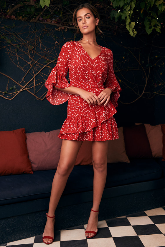 717d6588333 Red Polka Dot Frill Detail Flare Sleeve Wrap Dress