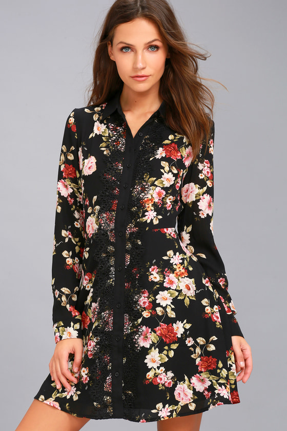 Chic Shirt Dress Black Floral Dress Long Sleeve Dress