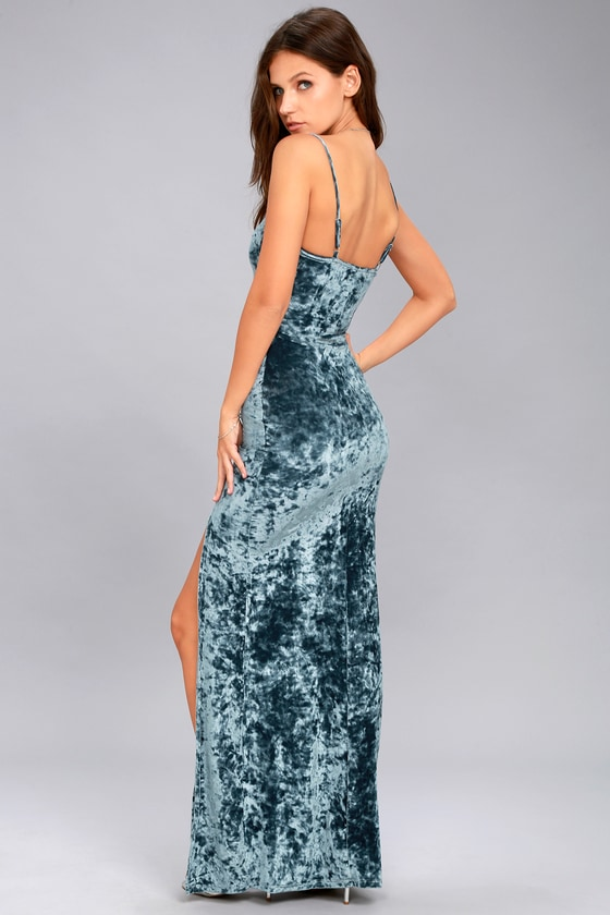 Stunning Velvet Dress - Velvet Maxi Dress - Blue Maxi Dress