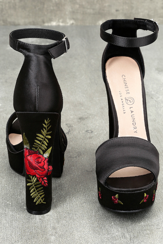 Chinese Laundry Amy Black Satin Embroidered Platform Heels