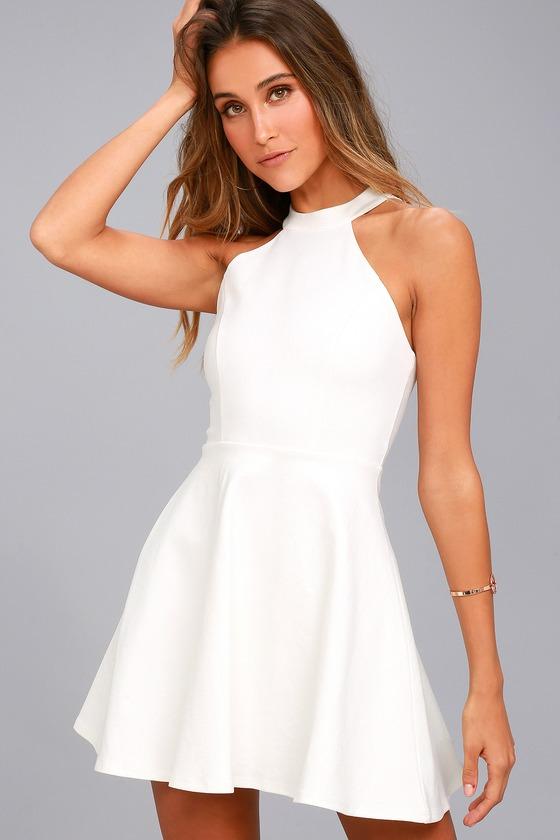 Chic White Dress Skater Dress Lace Dress Halter Dress