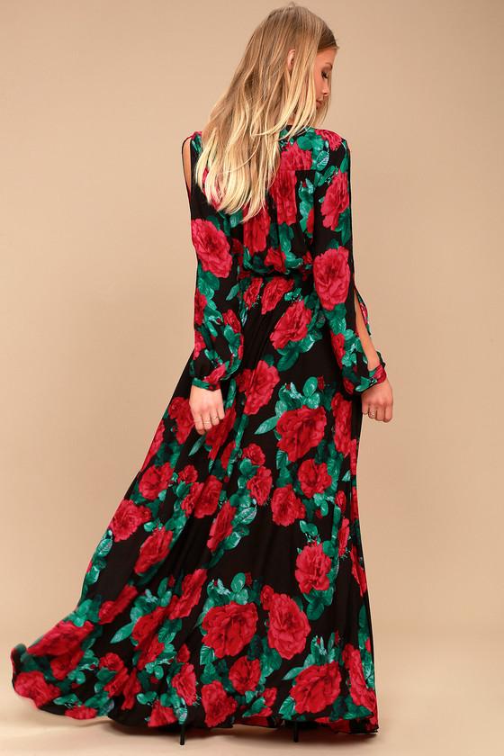 Lovely Black Floral Print Maxi Long Sleeve Maxi Dress