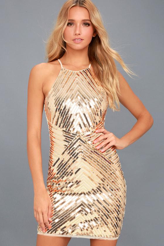 Chic Gold Dress - Sequin Dress - Party Dress - Bodycon Dress