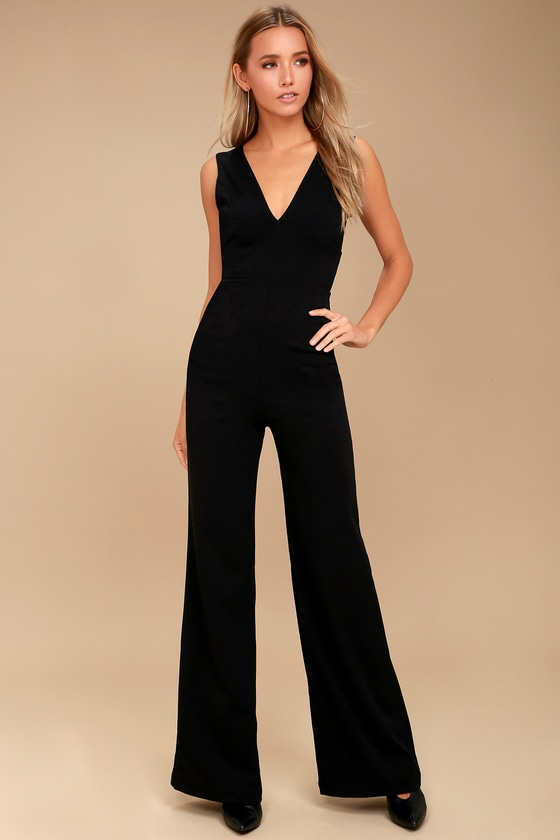Ready For It Black Sleeveless Wide-Leg Jumpsuit