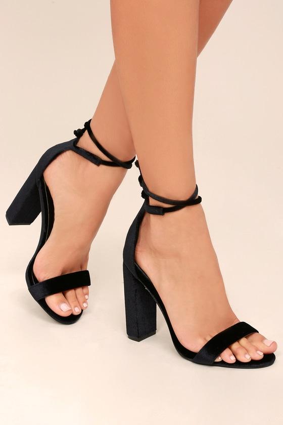 Gracie Black Velvet Lace-Up Heels