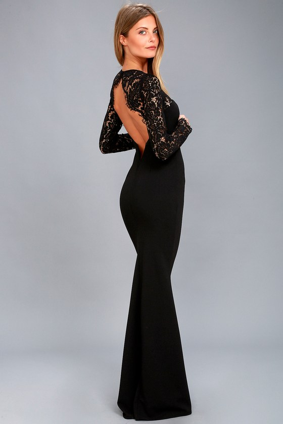 Lovely Black Lace Dress Lace Maxi Dress Long Sleeve Maxi