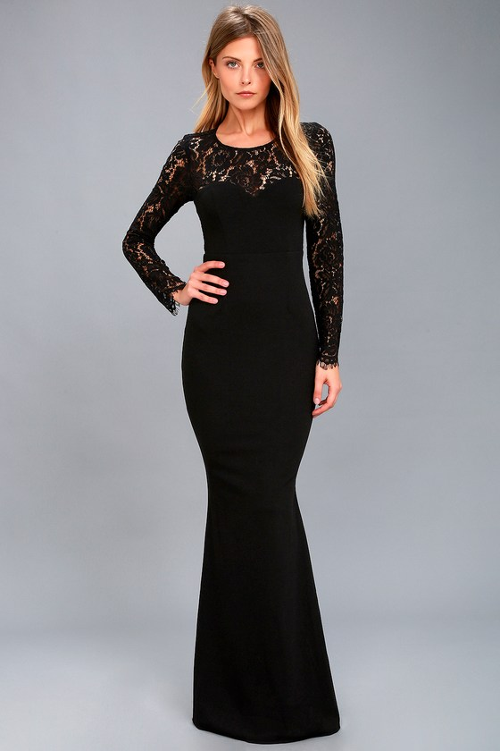 Lovely Black Lace Dress - Lace Maxi Dress - Long Sleeve Maxi