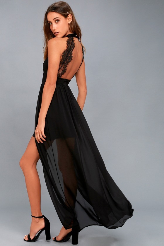 Lovely Black Dress Maxi Dress Lace Dress Halter Dress