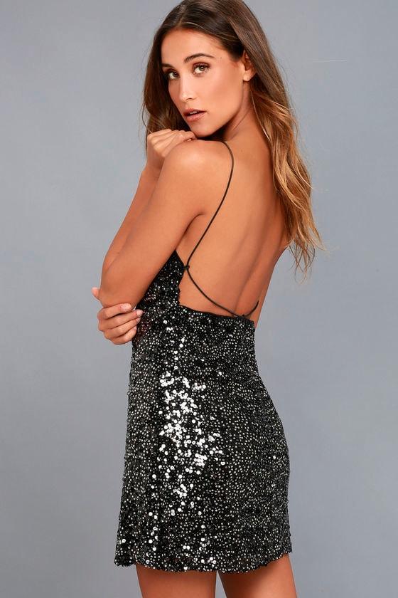 Force of Fashion Black Backless Sequin Mini Dress - Lulus.com