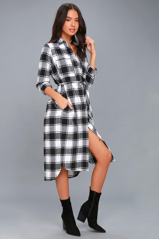 cute black and white plaid shirt dress flannel midi dress