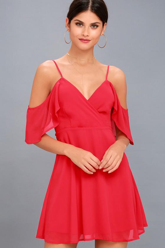 Chic Red Dress - Off-the-Shoulder Dress