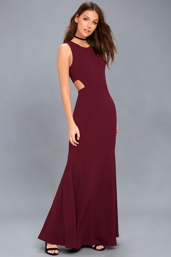 Stunning Burgundy Maxi Dress Sleeveless Dress