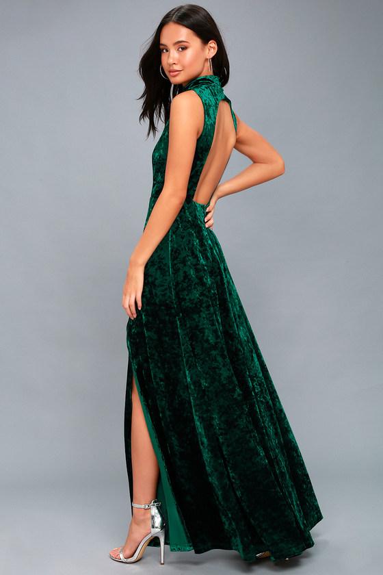 Stunning Maxi Dress - Backless Dress - Green Velvet Dress