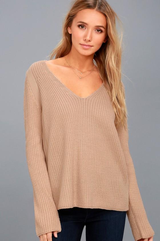 Cute Blush Knit Sweater V Neck Sweater Blush Sweater