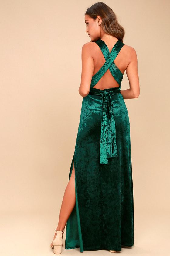 Chic Velvet Maxi Dress - Halter Dress - Backless Dress