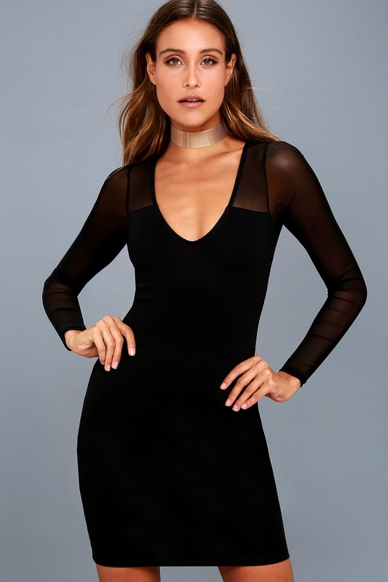 Parisian nights black mesh long sleeve bodycon dress