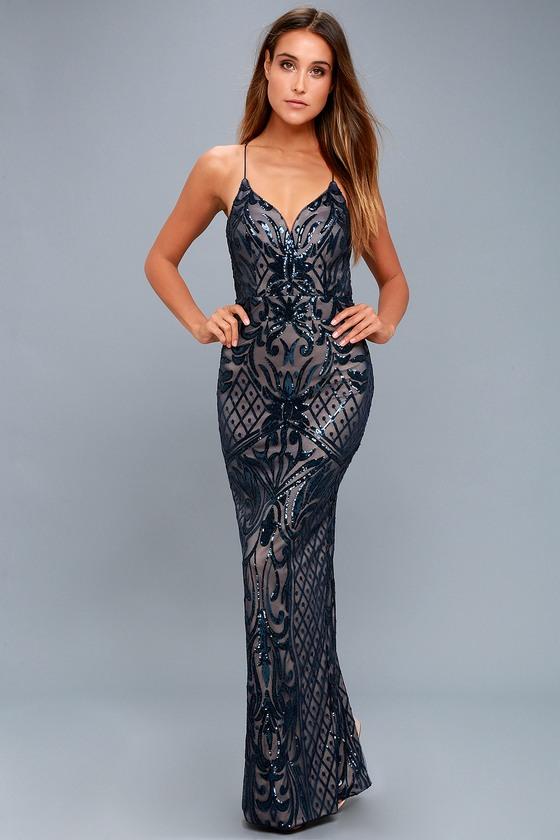 Stunning Navy Blue Maxi Dress - Sequin Maxi Dress - Gown