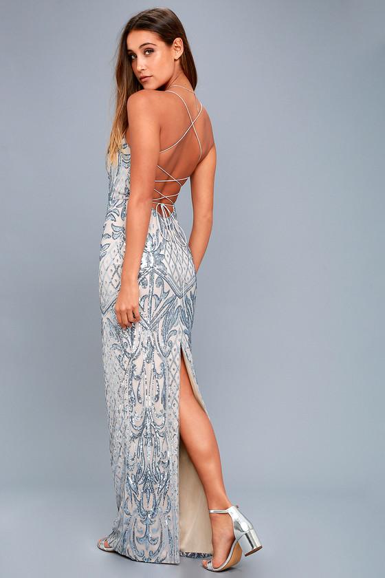 Stunning Light Blue Maxi Dress - Sequin Maxi Dress - Gown
