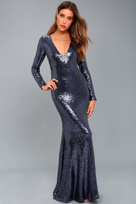 Navy Blue Sequin Maxi Dress - Long Sleeve Maxi Dress