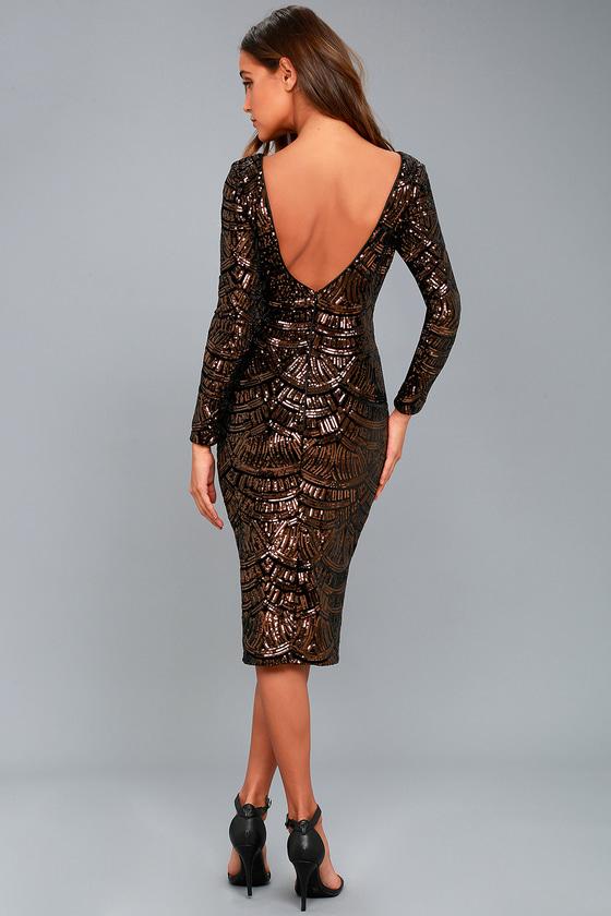 Dress The Population Emery Dress Bronze Sequin Dress