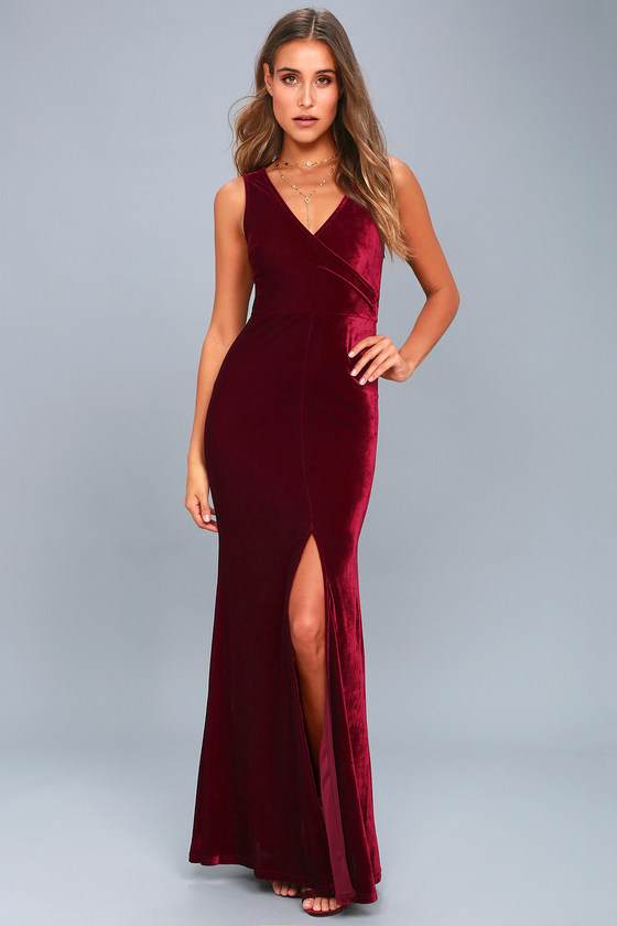 Crushin It Burgundy Velvet Maxi Dress