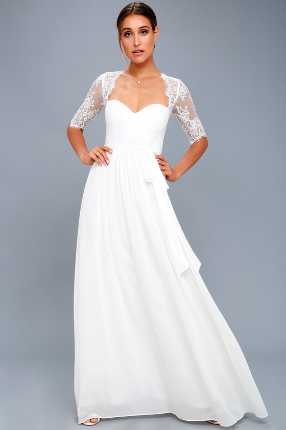 Lovely White Dress - Lace Maxi Dress - White Gown