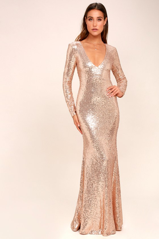 Rose Gold Sequin Maxi Dress - Long Sleeve Maxi Dress