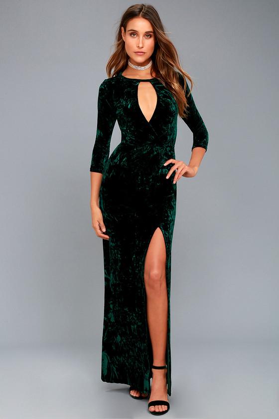 Chic Forest Green Dress - Velvet Maxi Dress - Velvet Gown