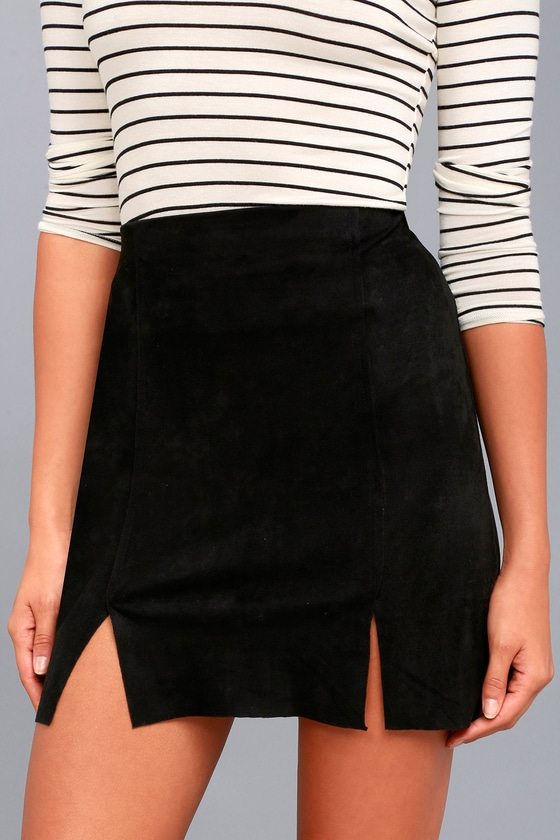 Malibu Morning Black Suede Mini Skirt