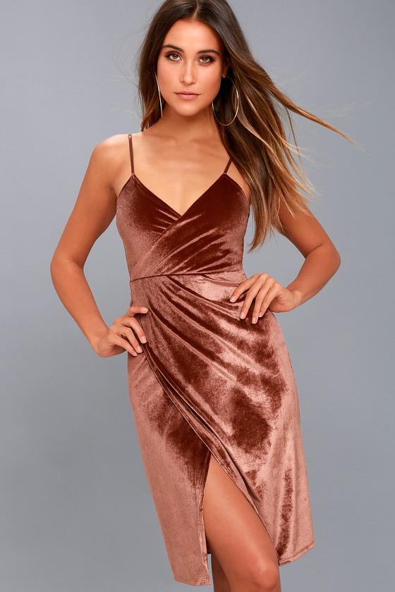 Honey Love Rusty Rose Velvet Bodycon Wrap Dress