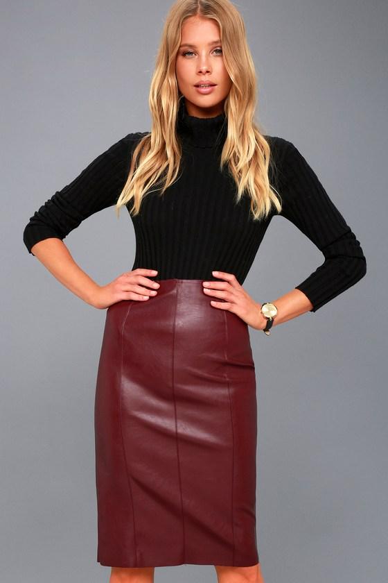 Sexy Vegan Leather Skirt - Midi Skirt