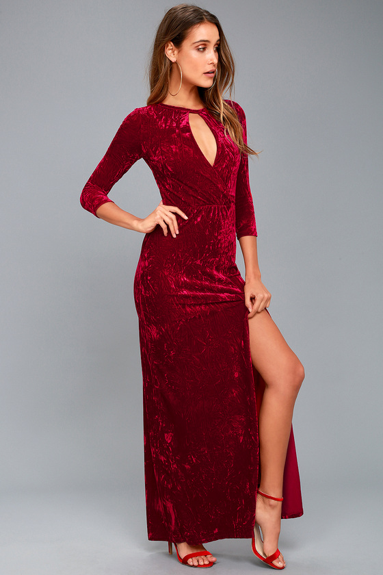 Chic Wine Red Dress - Velvet Maxi Dress - Velvet Gown