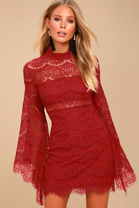 Dazzling Wine Red Lace Dress Bell Sleeve Dress
