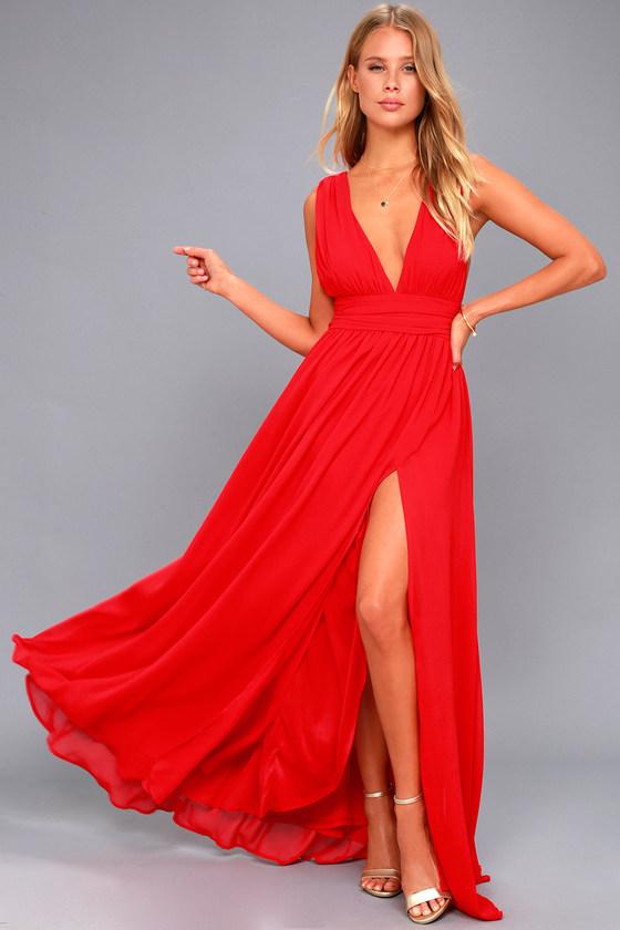 Red Gown - Maxi Dress - Sleeveless Maxi Dress