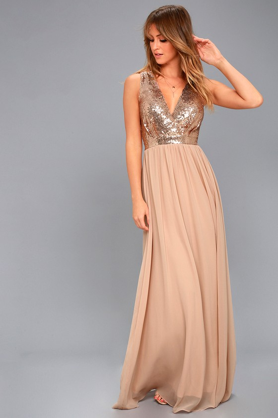 Lovely Champagne Maxi Dress - Sequin Maxi Dress
