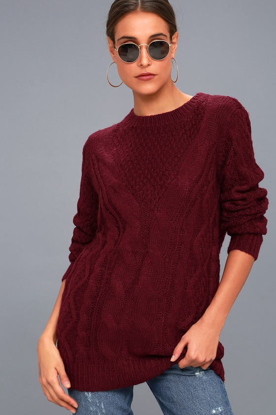Cozy Cable Knit Sweater Burgundy Sweater Long Sweater