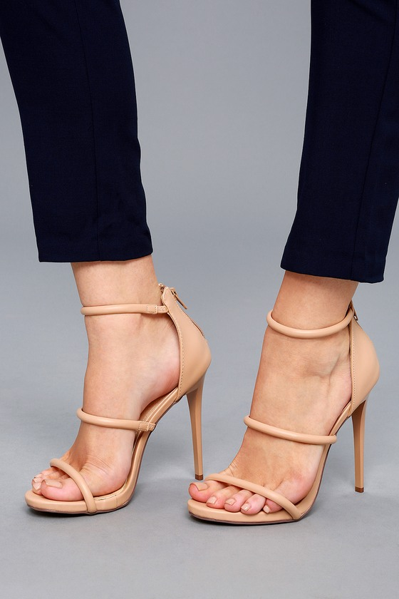 Strappy Sandals in Nude Patent with Stiletto Heel