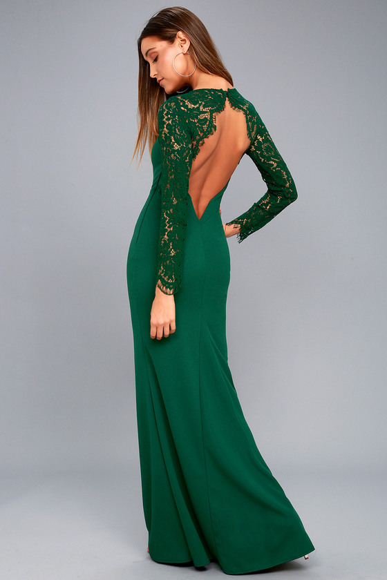 Lovely Forest Green Lace Dress Long Sleeve Maxi Dress