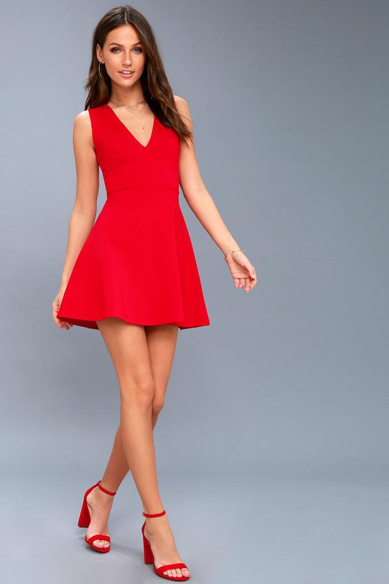Cute Red Skater Dress - Sleeveless Skater Dress
