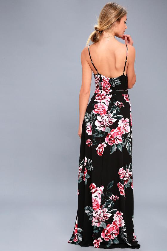 Chic Black Floral Print Dress Wrap Dress Maxi Dress
