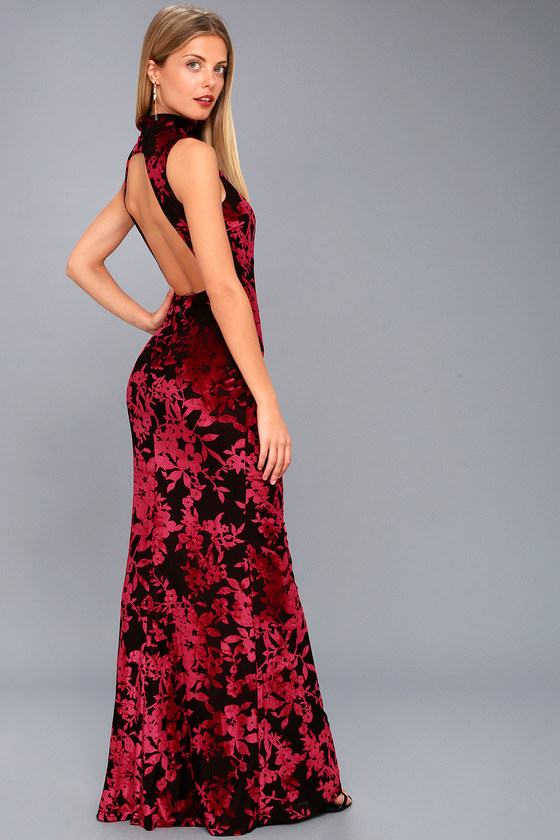 Sexy Black And Red Velvet Dress Floral Print Maxi Dress