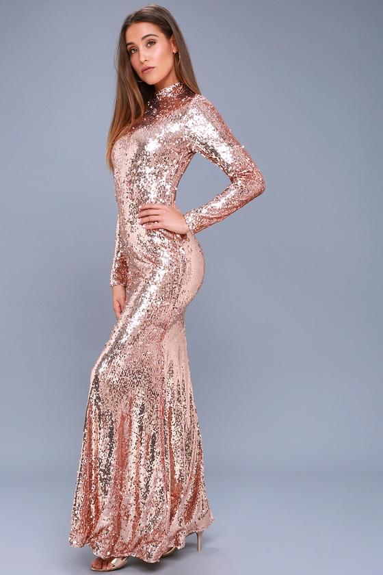 Chic Rose Gold Dress Sequin Dress Long Sleeve Maxi Dress