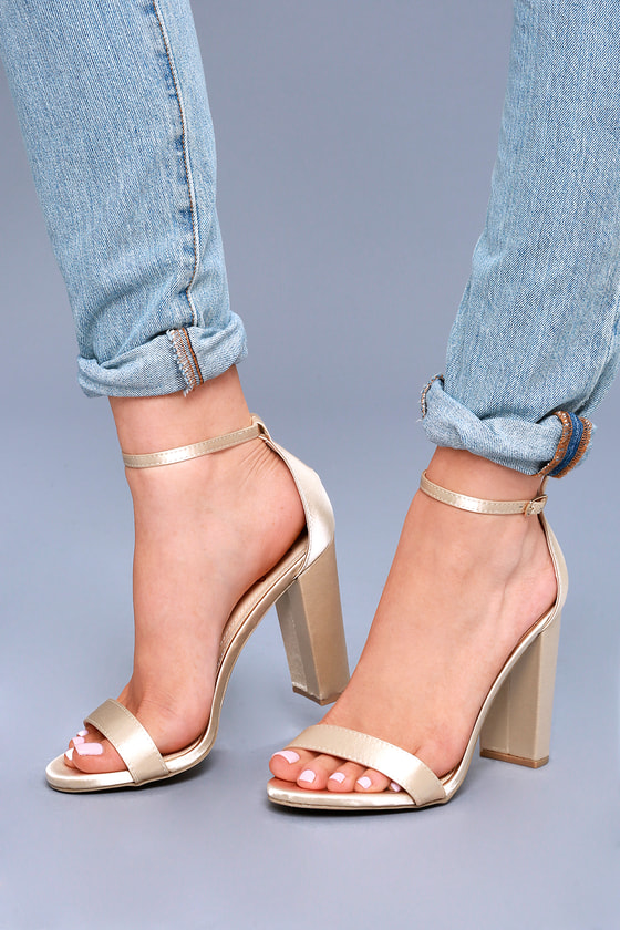 Taylor Champagne Satin Ankle Strap Heels 5