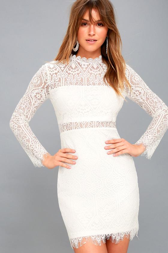 Sexy White Dress - White Lace Dress - Long Sleeve Lace Dress